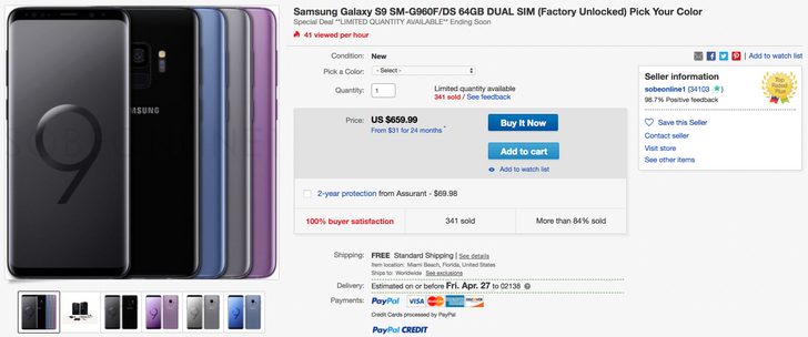 [Deal Alert] Dual-SIM Samsung Galaxy S9 $659.99 (SM-G960F/DS) on eBay