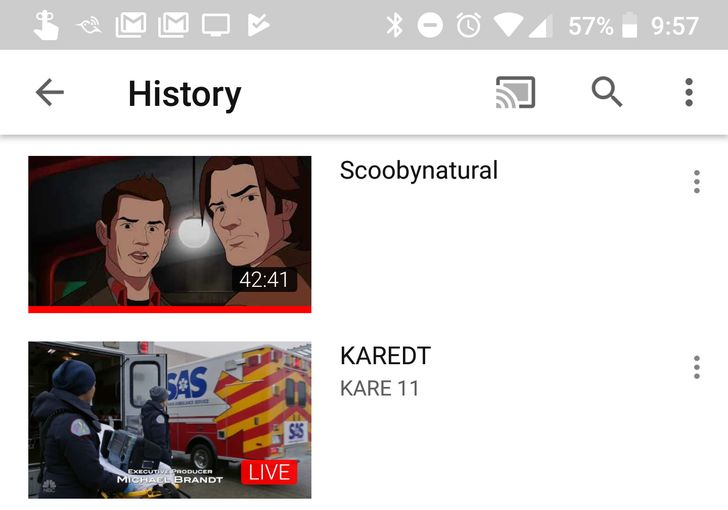YouTube app now shows YouTube TV watch history, but it doesn't do anything yet