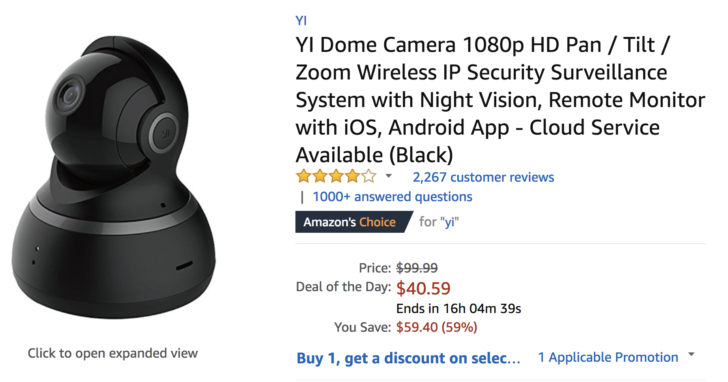 [Deal Alert] Get a Yi Dome Camera for just $40.59 ($59.40 off) from Amazon