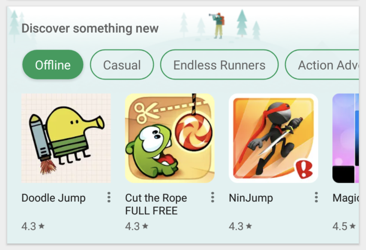 'Discover something new' card appears in Play Store app, complete with category buttons