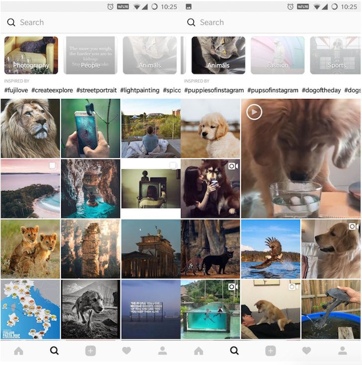 Instagram tests out a redesigned layout for the Explore tab