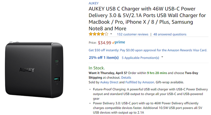 [Deal Alert] Multiple Aukey USB-PD chargers are on sale for up to 25% off via Amazon