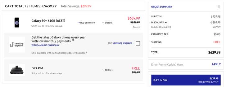 [Deal Alert] Get an AT&T Samsung Galaxy S9 for $569.99 ($150 off) or S9+ for $639.99 ($200 off), plus a free DeX Pad