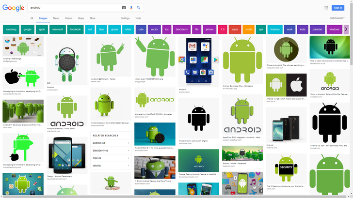 [Update: More tests] Google Images testing new mobile-style UI for the web