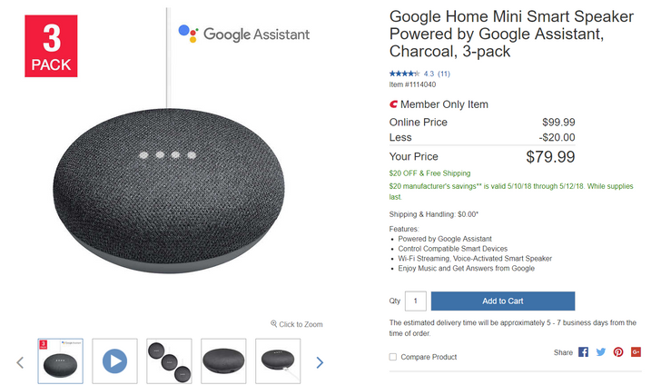 [Deal Alert] Google Home Mini 3-pack only $80 at Costco ($20 off)