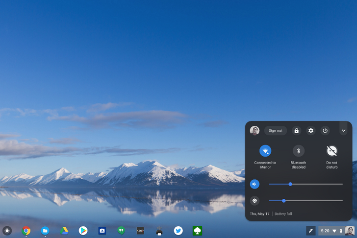 Chrome OS beta gets Android P's dark-themed system tray
