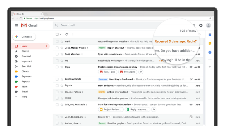 Email 'Nudges' are rolling out in the new Gmail