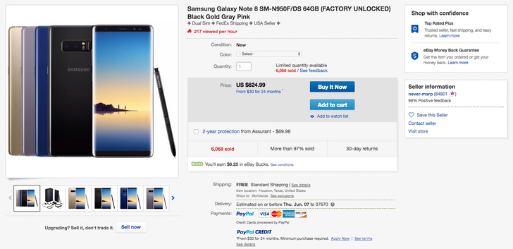 [Deal Alert] Galaxy Note8 dual-SIM down to just $624.99 ($275 off) on eBay