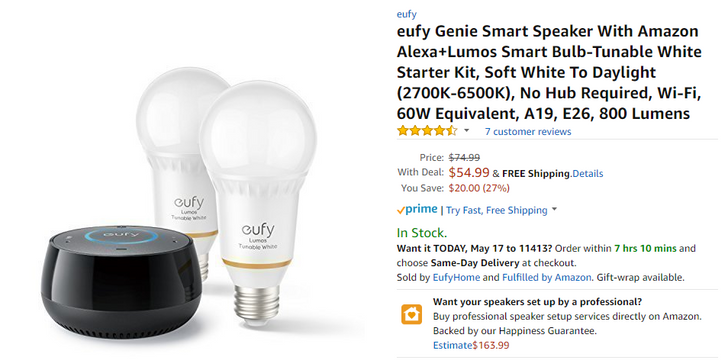 [Deal Alert] Save 20-30% on Anker's Eufy smart lights, Genie Alexa smart speaker, and connected scale