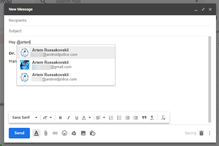Tip: The new Gmail supports @ mentions, adding email recipients as you type their name
