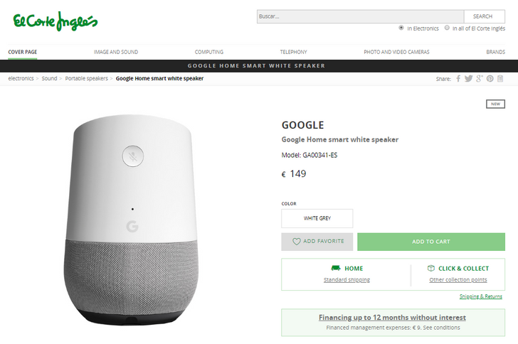 Google Home and Wifi launch in Spain imminent as products show up on El Corte Inglés