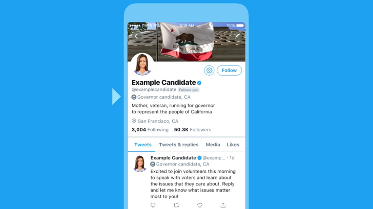 Twitter introduces profile labels for US midterm general election candidates, political campaigning policy