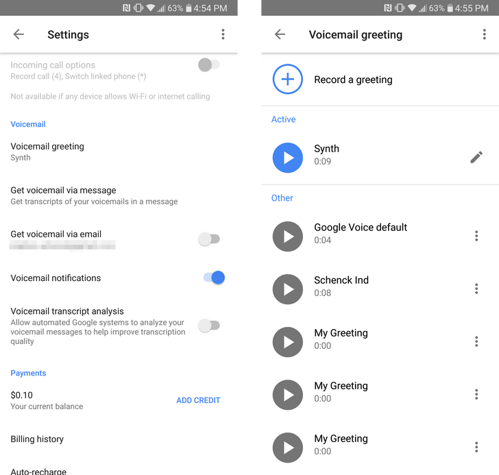Google Voice v5.10 adds voicemail greeting management