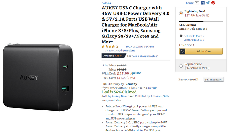 [Deal Alert] Aukey 46W USB-C charger on sale for $28 (normally $35) today only