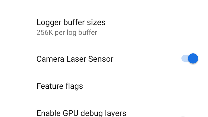 Android P has a camera laser sensor toggle in developer options