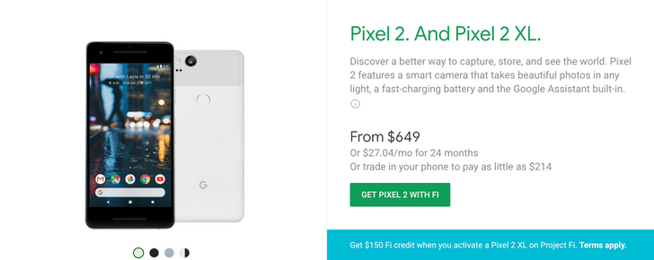 [Deal Alert] Project Fi offering $150 credit with purchase of Pixel 2 XL