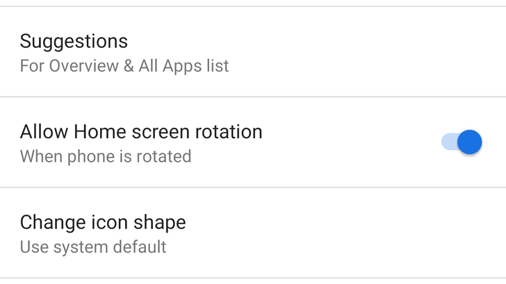 Android P DP3 brings the home screen rotation toggle back