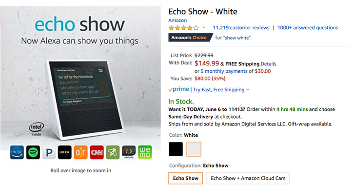 [Deal Alert] Amazon Echo Show down to $149.99 ($80 off)