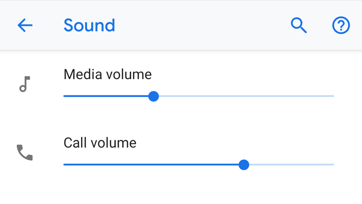 Call volume gets its own slider in settings on Android P DP4