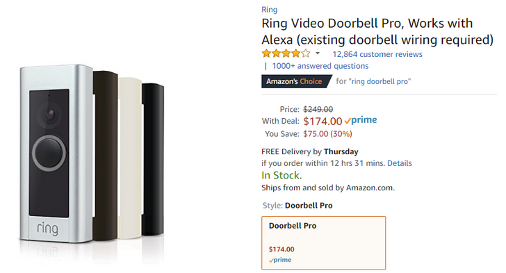 [Deal Alert] Ring Video Doorbell Pro on sale for $174 ($75 off) on Amazon