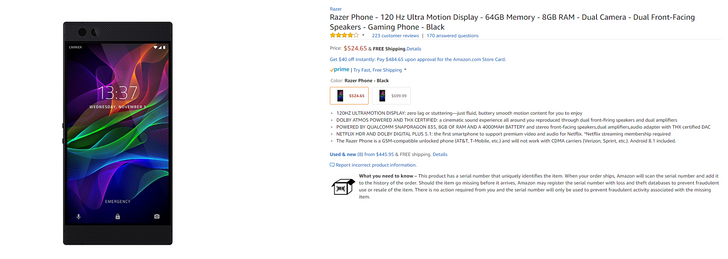 [Deal Alert] Razer Phone on sale from Amazon for $525 ($175 off)
