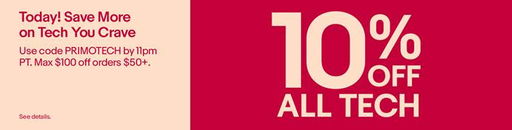 [Not much of a Deal Alert] eBay gives one-day-only coupon for 10% off tech — less than previous site-wide deals