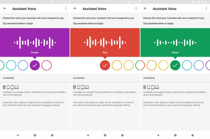 Google is rolling out a new UI for choosing Assistant voices, which are now named after colors