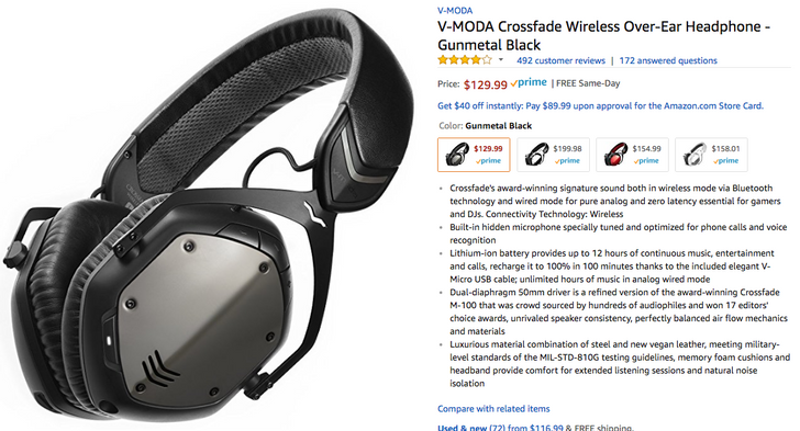 [Deal Alert] V-MODA Crossfade Wireless down to all-time low of $129.99 ($170 off) on Amazon