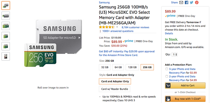 [Deal Alert] 256GB Samsung EVO Select U3 microSD card down to $90, 128GB and 64GB also discounted