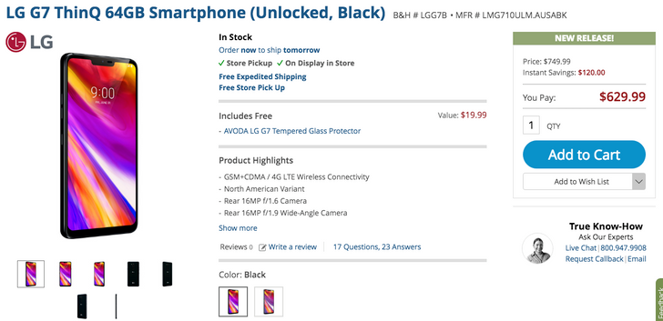 [Deal Alert] LG G7 ThinQ discounted to $630 ($120 off) at B&H