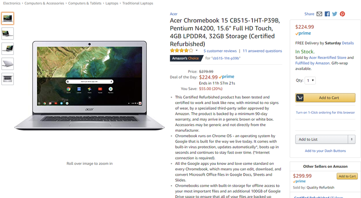 [Deal Alert] Acer Chromebook 15 refurbs are $225 ($55 off) on Amazon for today only