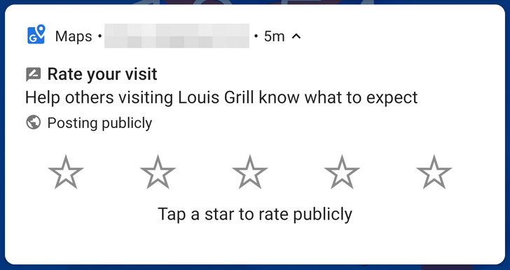 Google Maps now lets you quickly, and mindlessly, rate places from a notification
