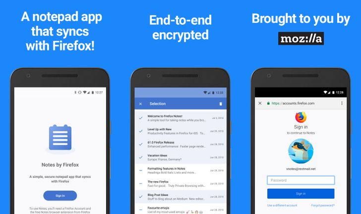 Notes by Firefox syncs encrypted notes with Mozilla's desktop browser