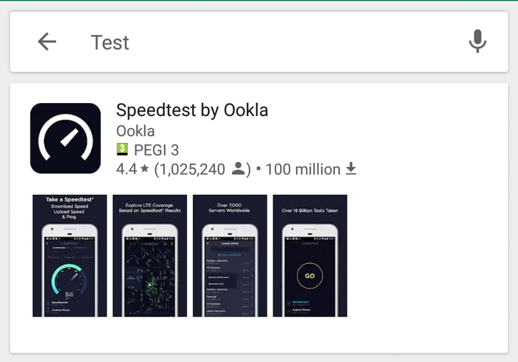 Play Store testing card-style search results with screenshot thumbnails
