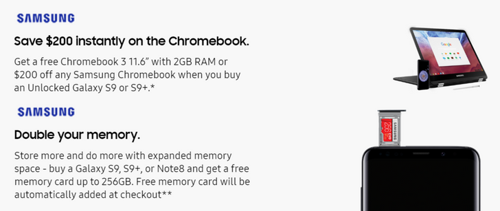 "[Deal Alert] Samsung offering free Chromebook 3 11.6"" and microSD up to 256GB with purchase of Galaxy S9/S9+ or Note8"