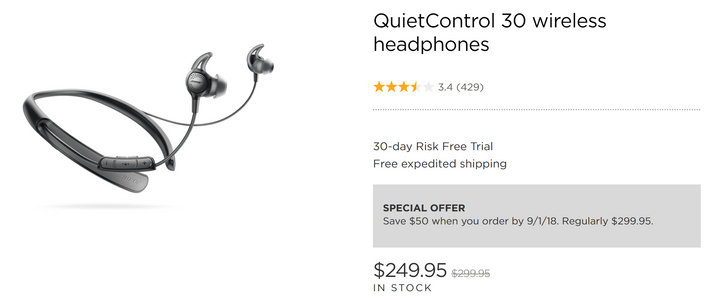 [Deal Alert] Bose QuietControl 30 Bluetooth earphones down to $250 at several retailers ($50 off)
