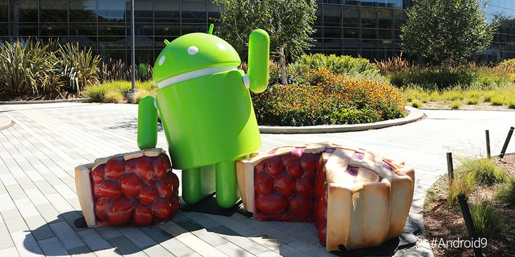 This is Google's (rather boring) statue for Android 9 Pie