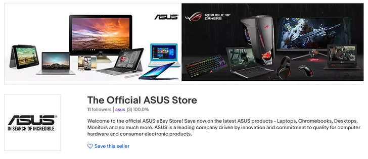 ASUS now has an eBay store, and it sells everything from $5 external LED flashes to $1,900 laptops