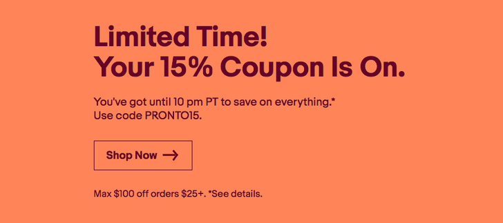 [Deal Alert] eBay offering 15% off anything with code, discount capped at $100