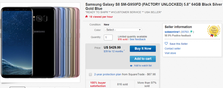 [Deal Alert] Get a dual-SIM Samsung Galaxy S8 for $430 on eBay