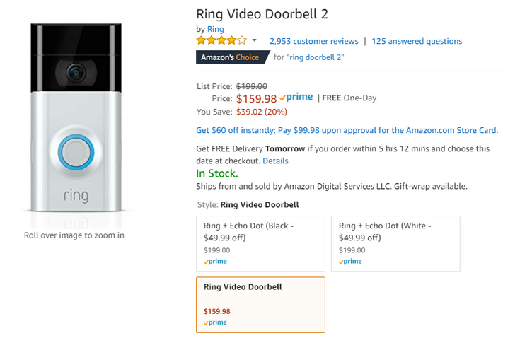 [Deal Alert] Ring Video Doorbell 2 on sale for $160 ($40 off) at Amazon