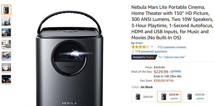 [Deal Alert] Anker Nebula Mars II Android projector is $400 ($200 off), Mars Lite is $230 ($170 off)