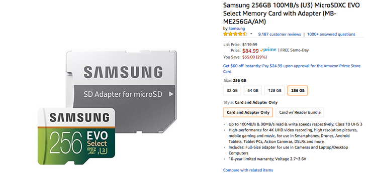 [Deal Alert] 256GB Samsung EVO Select microSD down to $85 ($35 off), 128GB to $34 ($8 off) at Amazon