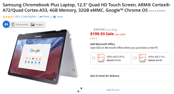 [Deal Alert] Samsung Chromebook Plus is $200 ($300 off) at Office Depot, but only in-store