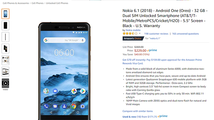 [Deal Alert] The Nokia 6.1 is $229 ($40 off) on Amazon