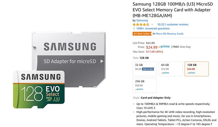 Samsung EVO Select 128GB microSD card down to $25 on Amazon