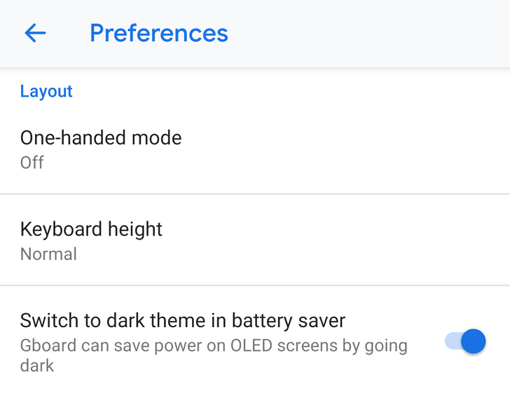 Gboard 7.6.13 can automatically turn on a dark theme when battery saver is active [APK Download]