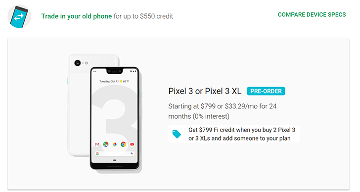 Pixel 2 trade-in offers now available on Google Store and Project Fi for Pixel 3 buyers