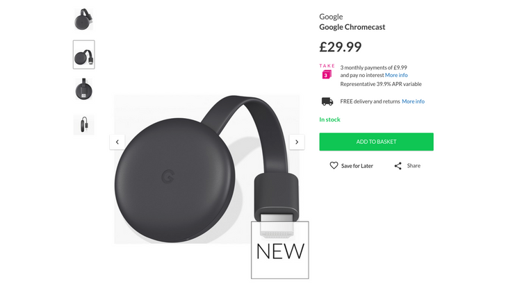 The new Chromecast is already up for sale at a UK retailer