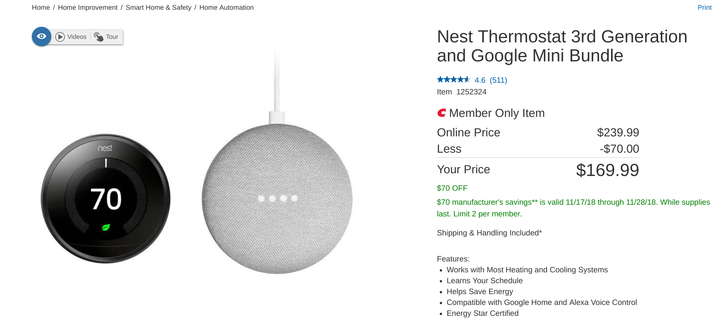 Nest Thermostat 3rd gen and Google Home Mini bundle is just $170 ($70 off) at Costco